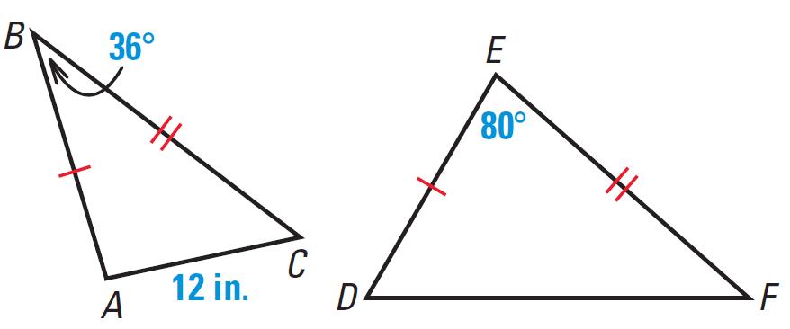 Inequalities in two triangles worksheet