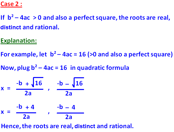 Nature of the roots of a quadratic equation – The Quadratic Formula and the Discriminant Worksheet