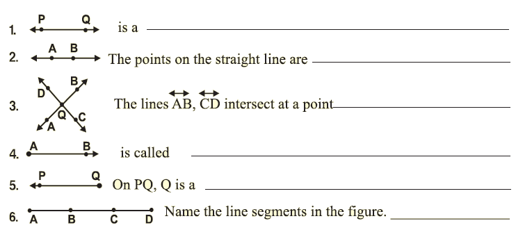 Point Line Line Segment Ray Worksheet
