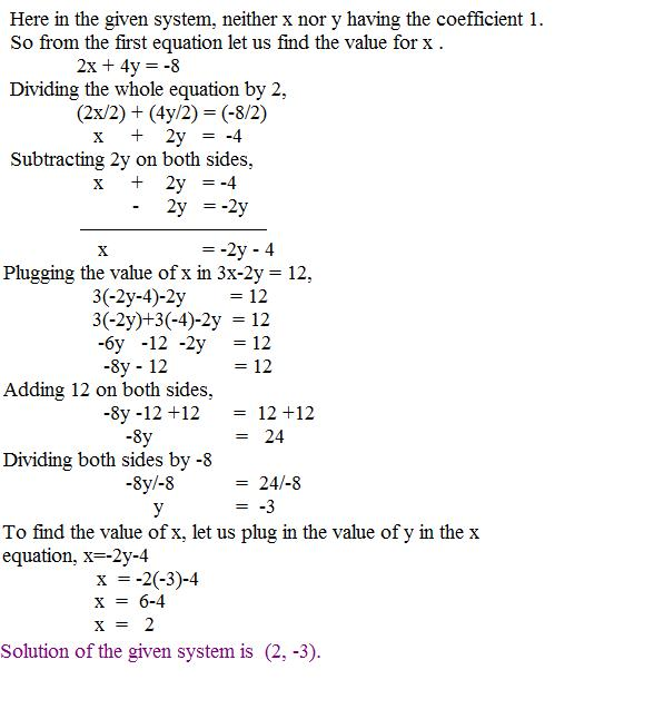 Solving by substitution method, page 2