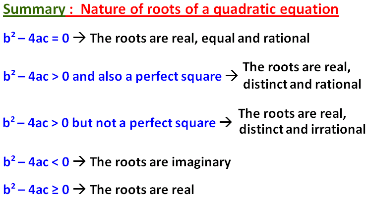Nature Of The Roots Of Quadratic Equations Worksheet Pdf